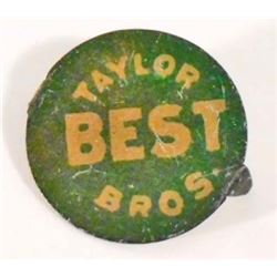 VINTAGE TAYLOR BROS. BEST METAL TOBACCO TAG