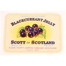 VINTAGE BLACKCURRANT JELLY SCOTT OF SCOTLAND ADVERTISING LABEL