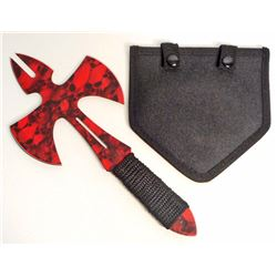 RED AND BLACK SKULLS THROWING AXE W/ SHEATH