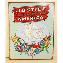 JUSTICE LEAGUE AMERICA METAL SIGN