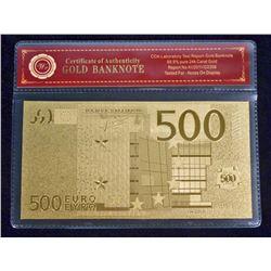 99.9% 24K GOLD 500 EURO BANKNOTE W/COA