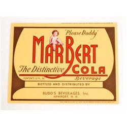 VINTAGE MARBERT COLA ADVERTISING BOTTLE LABEL