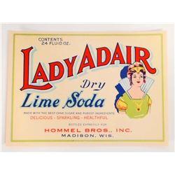 VINTAGE LADY ADAIR DRY LIME SODA ADVERTISING BOTTLE LABEL