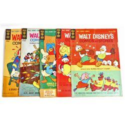 LOT OF 5 VINTAGE 1964 WALT DISNEY COMIC BOOKS - 12 CENT COVERS