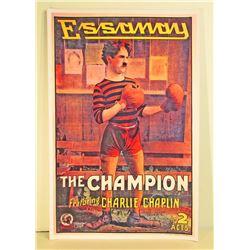CHARLIE CHAPLIN THE CHAMPION MOVIE POSTER PRINT