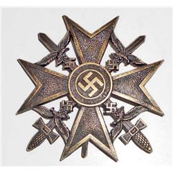 NAZI GERMAN BRONZE CONDOR LEGION SPANISH CROSS W/ SWORDS