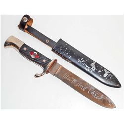 NAZI GERMAN HITLER YOUTH HJ KNIFE W/ SCABBARD