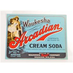 VINTAGE WAUKESHA ARCADIAN CREAM SODA ADVERTISING BOTTLE LABEL