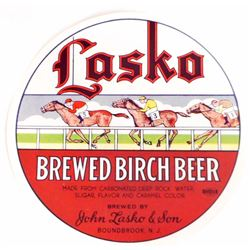 VINTAGE LASKA BREWED BIRCH BEER ADVERTISING BOTTLE LABEL