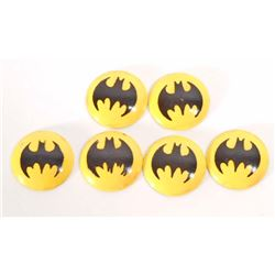 LOT OF 6 VINTAGE TIN LITHO BATMAN BAT SIGNAL BUTTONS