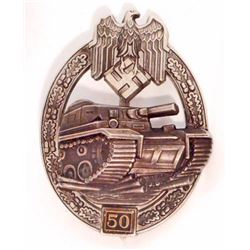 NAZI GERMAN ARMY SILVER 50 TANK ASSAULT BADGE