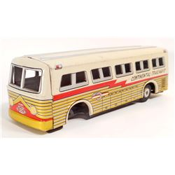 VINTAGE JAPAN TIN LITHO FRICTION GREYHOUND TOY BUS