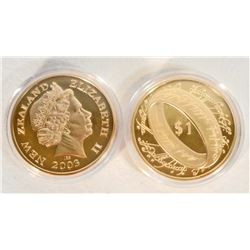 GOLD NEW ZEALAND QUEEN ELIZABETH II COMMEMORATIVE COIN