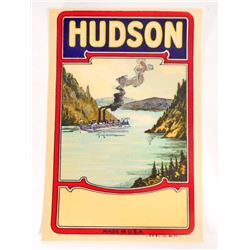 VINTAGE HUDSON BROOM HANDLE ADVERTISING LABEL