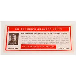 VINTAGE DR. BLUMERS SHAMPOO JELLY ADVERTISING LABEL