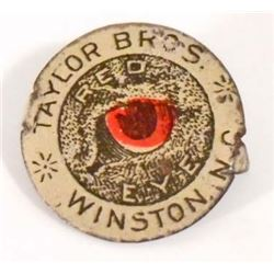 VINTAGE TAYLOR BROS. RED EYE METAL TOBACCO TAG