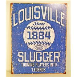 LOUISVILLE SLUGGER ADVERTISING METAL SIGN