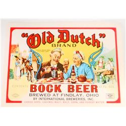 VINTAGE OLD DUTCH BOCK BEER BOTTLE ADVERTISING LABEL