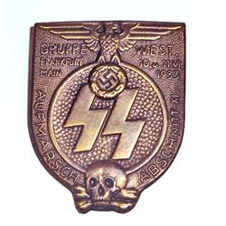 NAZI GERMAN WAFFEN SS GRUPPE FRANKFURT RALLY BADGE