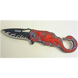 RED AND BLACK DRAGON TAC FORCE SPRING ASSISTED FOLDING KNIFE