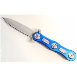 BLUE AND SILVER CAT EYE SPRING ASSISTED FOLDING KNIFE