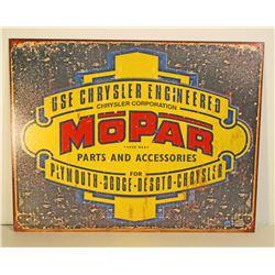 MOPAR CHRYSLER ENGINEERING ADVERTISING METAL SIGN