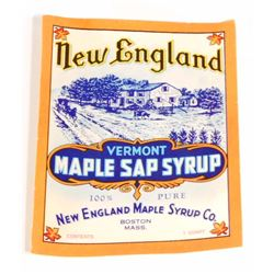 VINTAGE NEW ENGLAND MAPLE SAP SYRUP ADVERTISING LABEL
