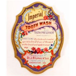 VINTAGE IMPERIAL TOOTH WASH ADVERTISING LABEL