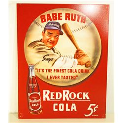 BABE RUTH RED ROCK COLA ADVERTISING METAL SIGN