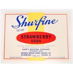 VINTAGE SUREFINE STRAWBERRY SODA ADVERTISING BOTTLE LABEL
