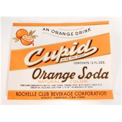 VINTAGE CUPID ORANGE SODA ADVERTISING BOTTLE LABEL