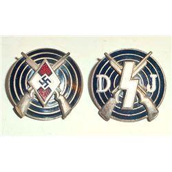 LOT OF 2 GERMAN NAZI HITLER YOUTH & DEUTSCHES YOUTH MARKSMAN SHOOTING AWARDS