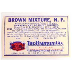 VINTAGE BROWN MIXTURE PRESCRIPTION MEDICATION ADVERTISING LABEL