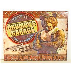 GRUMPYS GARAGE FUNNY ADVERTISING METAL SIGN