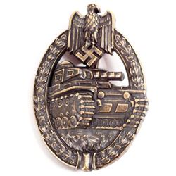 NAZI GERMAN ARMY BRONZE TANK ASSAULT BADGE