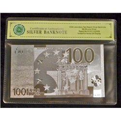 99.9% SILVER 100 EURO LEE BANKNOTE W/ COA
