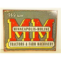 MINNEAPOLIS - MOLINE TRACTORS ADVERTISING METAL SIGN