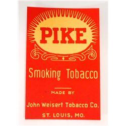 VINTAGE PIKE SMOKING TOBACCO ADVERTISING LABEL