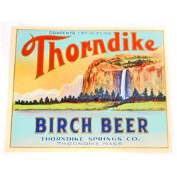 VINTAGE THORNDIKE BIRCH BEER ADVERTISING LABEL