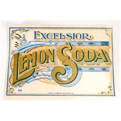 VINTAGE EXCELSIOR LEMON SODA ADVERTISING BOTTLE LABEL