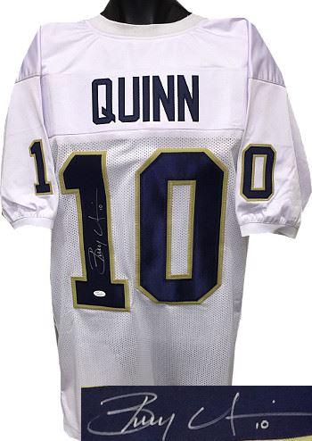 Brady Quinn Signed Notre Dame Fighting Irish White Custom Jersey ...