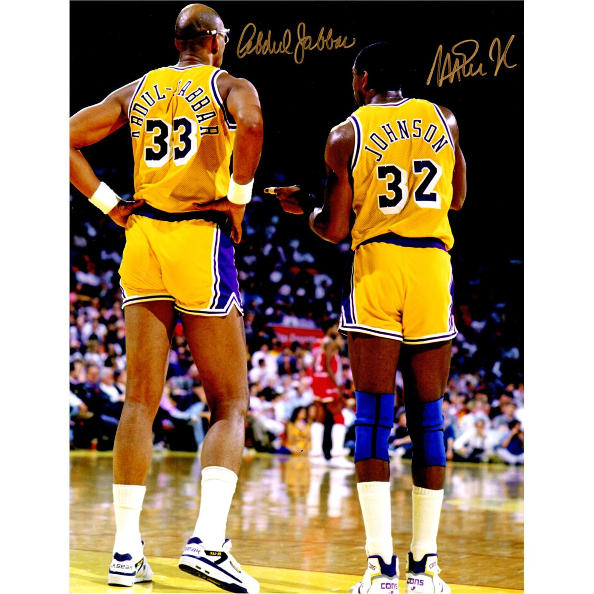 cac0c8a9e Image 1   Kareem Abdul-Jabbar   Magic Johnson Dual Signed Los Angeles Lakers  Back