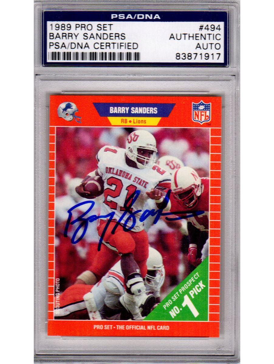 Barry Sanders Signed Oklahoma State 1989 Pro Set Rookie