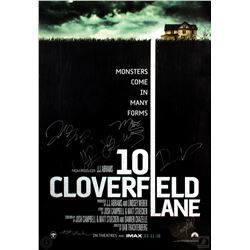 10 Cloverfield Lane Double-sided Poster Signed by 3 Cast Members & 4 Production Crew
