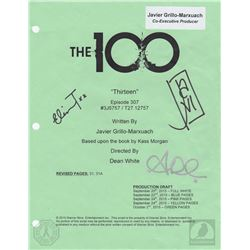 "The 100 ""Thirteen"" Script Cover Page Signed by Eliza Taylor & Alycia Debnam-Carey"