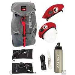 Colony Promotional Survival Backpack and Red Hats