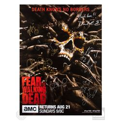 Fear the Walking Dead San Diego Comic Con 2016 Poster Signed by 8 Cast Members & Showrunner