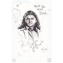 """LOST One-Of-A-Kind Hurley """"Never Say Never Dude"""" Gary Shipman Drawing Signed by Jorge Garcia"""