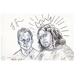 """LOST One-Of-A-Kind Ben & Hurley """"#1 & #2"""" Tim Doyle Drawing Signed by Jorge Garcia & 4 Producers"""