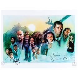 LOST Season One Cast Montage Art Print Signed by Jorge Garcia, Carlton Cuse & Damon Lindelof